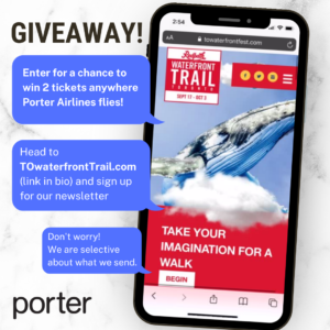 Enter for a chance to win 2 tickets to anywhere Porter flies